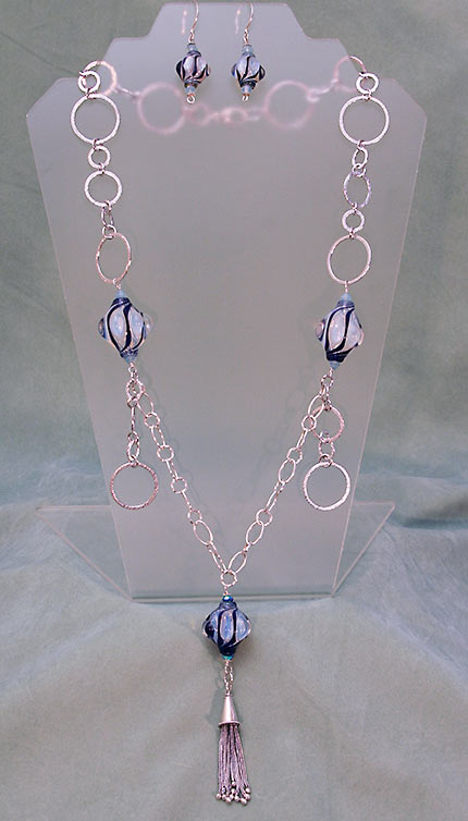 Blue beads with silver hoops